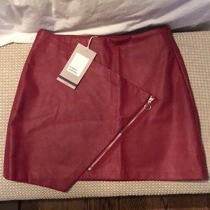 Zara red leather mini skirt